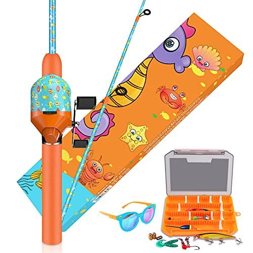 QudraKast Kids Fishing Pole, Portable Kids Fishing Rod and Reel Combo - Melding Funny Cartoon...