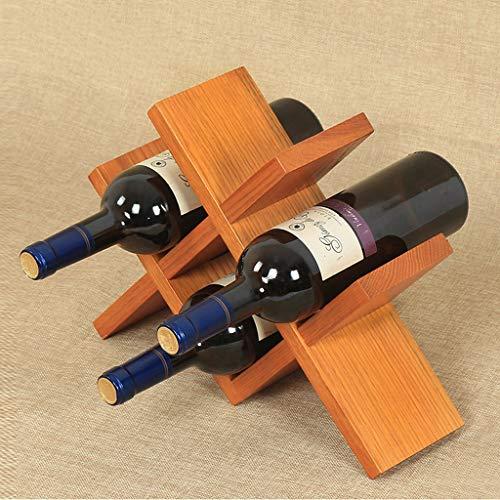 Xu Yuan Jia-Shop-Botelleros Creativo de Madera Maciza Estante de Vino Hogar Sala de Estar Estante de Vino Decoración de la exhibición Exhibición de la Botella de Vino de la Rejilla (Color : Yellow)