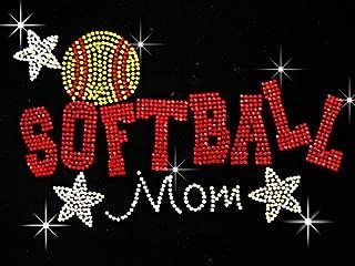 Softball Mom with Stars Rhinestone Iron on Hotfix Transfer Baseball Mom Bling - 7
