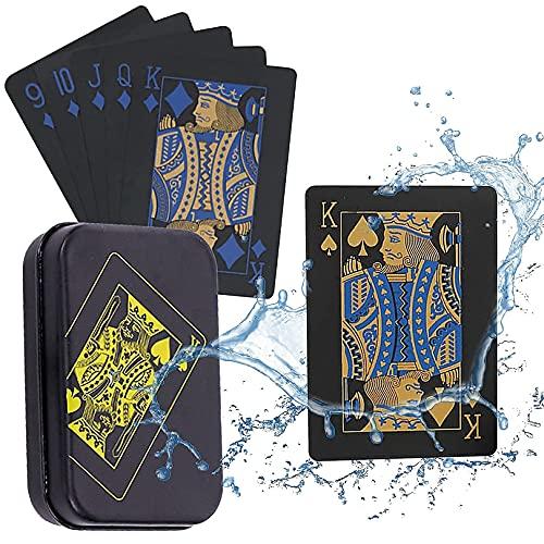 Spielkarten Plastic wasserdichte Pokerkarten, Schwarze Spielkarten, Professionelle Pokerkarten,Poker Karten Set,Top QualitäT Plastikpoker FüR Ihr PokervergnüGen Familienspiele
