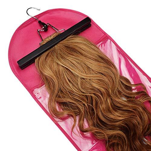 LPER Lace Front Perruques pour Les Femmes, 3 PCS Extensions Cheveux Perruque Faux Charme Perruques Sac de Rangement étanche à la poussière Hanger Support de Stockage de Protection (Couleur : Rose)