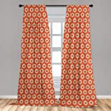 Ambesonne Ikat Window Curtain, Repeating Oval Shapes with Grunge Effect on Orange Backdrop Abstract Vintage, Lightweight Decorative Panels Set of 2 with Rod Pocket, 56 x 95, Orange Beige