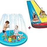 Juego de Verano Splash Pad + césped Toboganes de Agua para niños, rociador Play Mat Spray Toys Rociador Splash Pad Play Mat Espesar Water Sprinkler Pad Large Splash Sprint Pad Jardín al Aire Libre pa