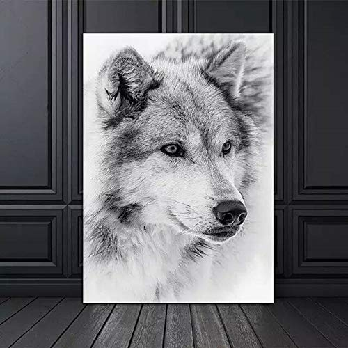 ganlanshu Modernes minimalistisches Schwarzweiss-kühles Wolfstier-Leinwandmalereiplakatwandgemälde Wohnzimmerdekoration,Rahmenlose Malerei,30x45cm