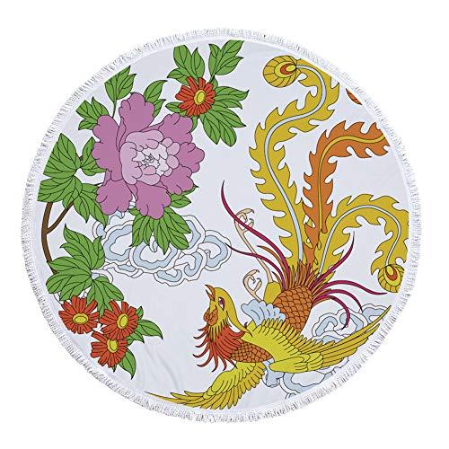 Mooie Phönix ronde badhanddoek met kwasten in Chinese stijl mysterieuze onsterfelijke vogel rond strandworp franjes strand roundie Boheemse mandala strandkleed yoga picnic mat 59 * 59in Patroon4