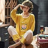 CIDCIJN Pijama para Mujer,Moda Casual Mujeres Ropa para Primavera Pijamas Conjuntos O-Cuello Pijao Precioso Dibujos Animados Pijamas Manga Larga Algodón Sexy Pijamas Femenino, Amarillo,M