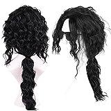 Menoqi Men Wigs Long Curly Black Hair Michael Jackson Metal Rocker Wigs with Ponytail Costumes Wig WIG168
