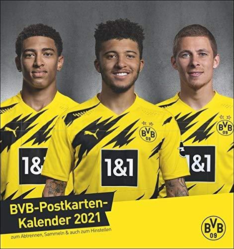 Borussia Dortmund Postkartenkalender 2021 - Kalender mit perforierten Postkarten - zum Aufstellen und Aufhängen - mit Monatskalendarium - Format 16 x 17 cm: Sammelkartenkalender