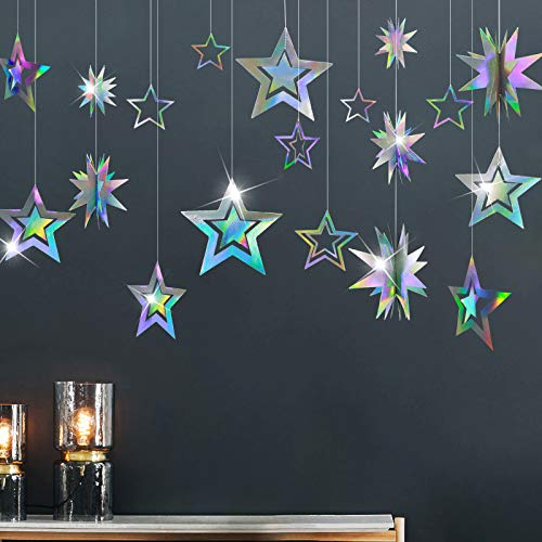 Glitter Iridescent Party Supplies Star Garland Holographic Twinkle Little Stars Decoration Hanging Decor Banner Backdrop Kids Birthday Bday Wedding Sweet 16 Graduation Ramadan EID Disco Dancing Ball
