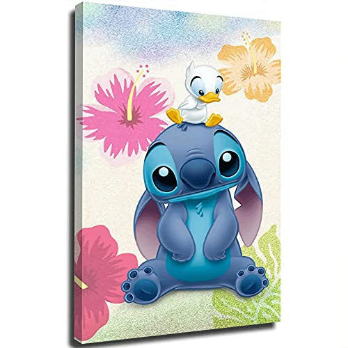 Lilo and Stitch Fashion Women Canvas Wall Art Stitch and Duckling Boys Home Decorations 12x18 inch