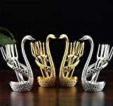 Juego de vajilla, tenedor de fruta de acero inoxidable y juego de cubiertos de postre, soporte decorativo para base de cisne con 6 tenedores y 6 cucharas (juego de 2)