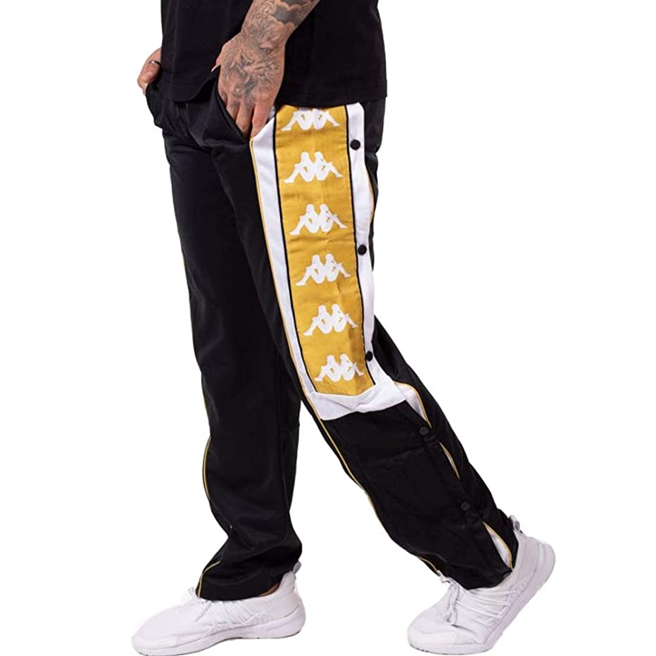 Kappa Banda ARPAN Side Logo Track Pants, Blk/Wht/Gld ($100-Now $85)
