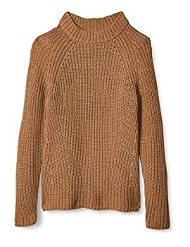 Amazon Brand - Goodthreads Women s Relaxed Fit Cotton Shaker Stitch Mock Neck Sweater Camel Heather  Large