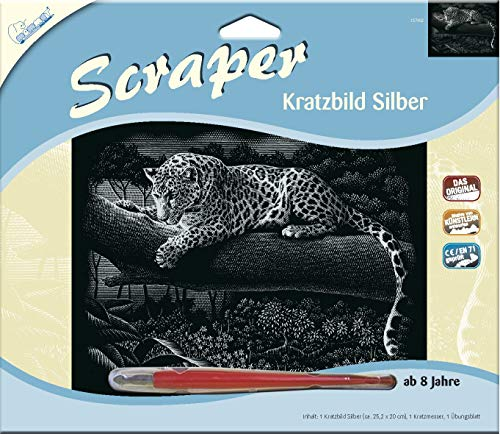 MAMMUT 137002 - Kratzbild, Motiv Leopard, silber, glänzend, quer, Komplettset mit Kratzmesser und Übungsblatt, Scraper, Scratch, Kritzel, Kratzset für Kinder ab 8 Jahre