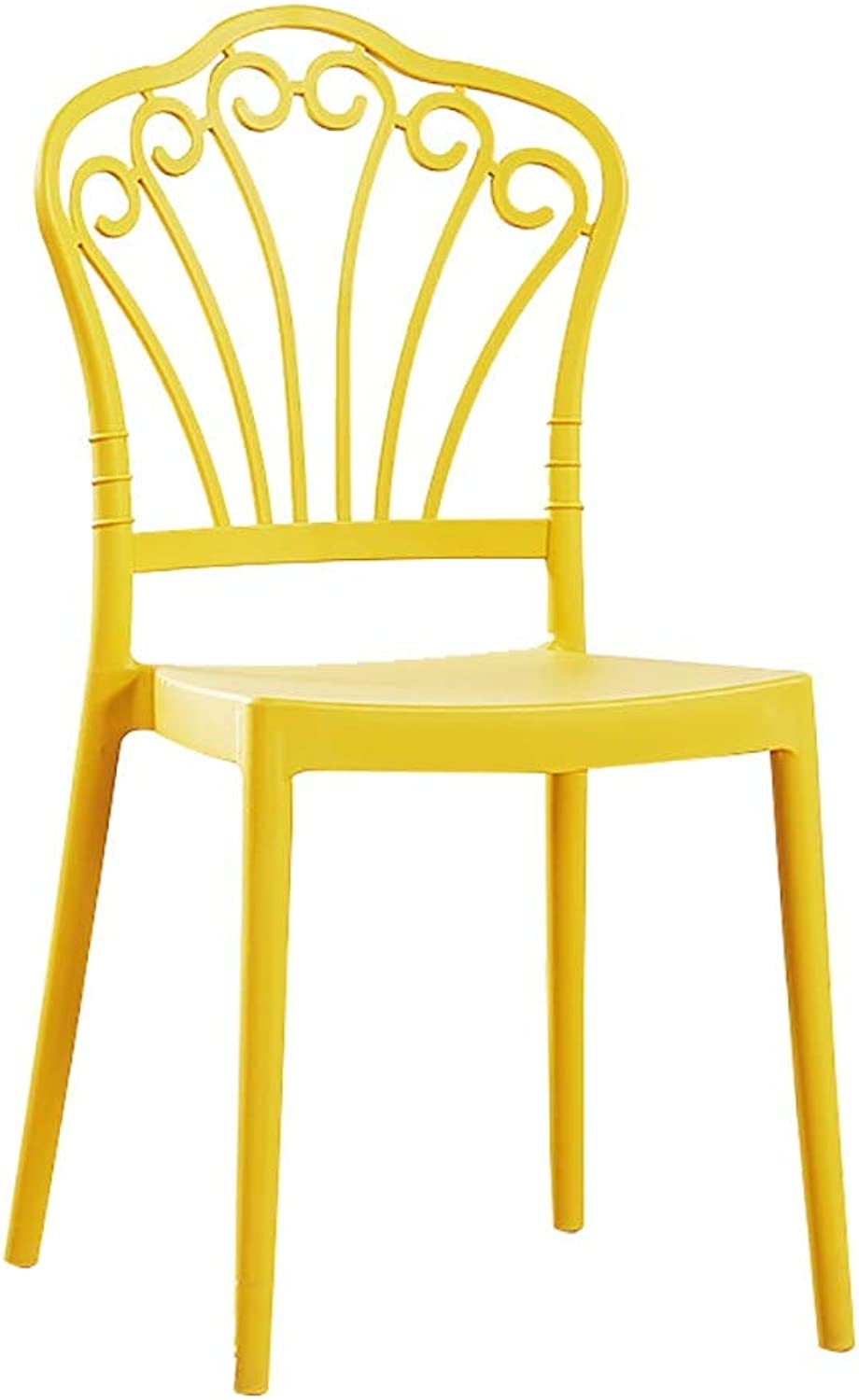 Household Modern Minimalist Dining Chair Lazy Plastic Stool Chair Leisure Chair to Discuss Chair (color   Yellow)
