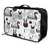 Bolsas de Maleta Travel Luggage Trolley Bag Portable Lightweight Suitcases Duffle Tote Bag Handbag Childish Vikings Pattern Overnight Bag