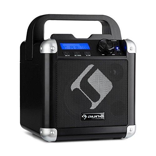 auna BC-1 - Karaoke, Equipo de Sonido pequeño, Equipo de Karaoke, Pantalla LCD, Potencia Media de 15 W, Bluetooth, Entrada USB, Peso Total: 1,9 Kg, Batería, Correa, Robusto, Negro