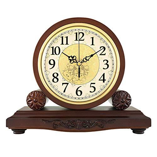 GANE Reloj de Madera Maciza Europeo Reloj de Sala de Estar Reloj Creativo Reloj Retro Grande Reloj de Mesa silencioso Reloj de Cuarzo Americano Adornos 29 * 23 cm (sin batería)