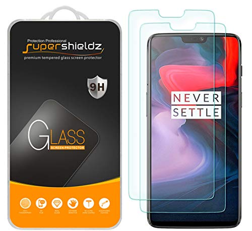 (2 Pack) Supershieldz for OnePlus 6 Tempered Glass Screen Protector, 0.28mm, Anti Scratch, Bubble Free