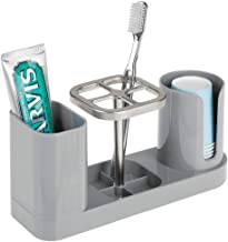 mDesign Plastic Bathroom Vanity Countertop Dental Storage Organizer Holder Stand for Electric Spin Toothbrushes/Toothpaste...