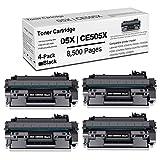 4 Pack05X Compatible 05X   CE505X High YieldTonerCartridgeReplacement for HP Laserjet P2035 (CE461A) P2035n (CE462A) P2055 (CE456A) P2055d (CE457A) P2055dn (CE459A) PrinterInkCartridge(Black).