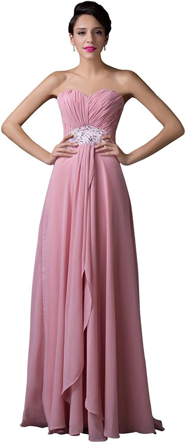 Vampal Pink Strapless Beaded ALine Empire Waist LaceUp Prom Dress