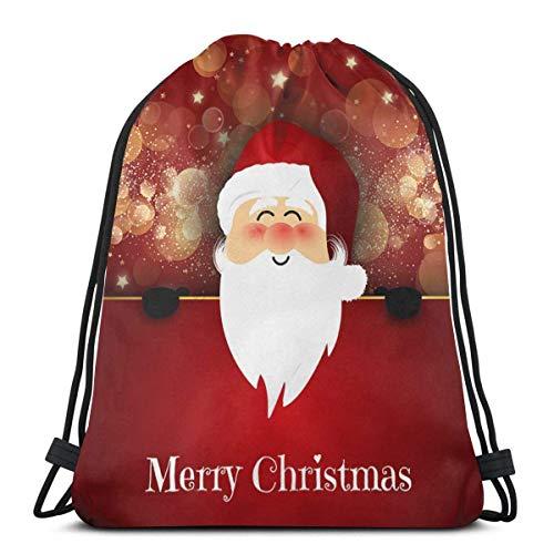 LUCKY Home Mochila con cordón para Navidad, Santa Feliz Navidad, para hombre, ligera, para almacenamiento