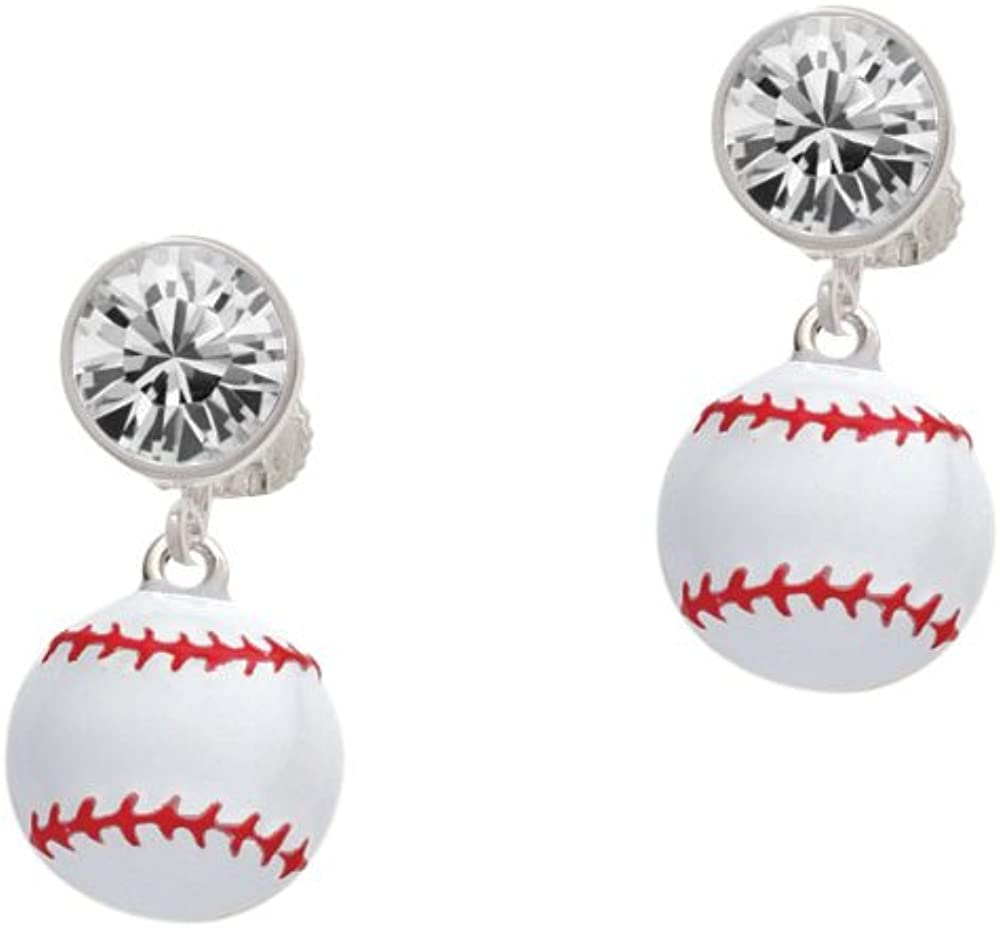 Silvertone Large White Classic Enamel Baseball - E on Clip Clear Crystal Max 44% OFF