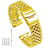 Super 3D 24mm Engineer Quick Release Silver Stainless Steel Watch Band Screw Fixed Watch Strap with Double Lock Diver Clasp Polished Brushed Metal Tapered Links Gold