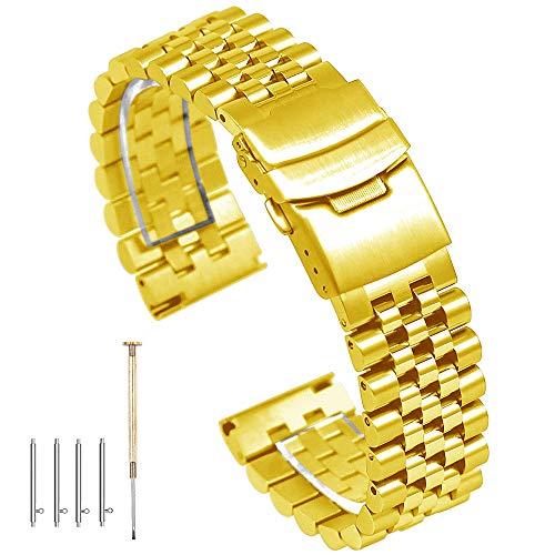 Correa de Reloj de Acero Inoxidable de 24 mm con Cierre de Doble Cierre, eslabones cónicos de Metal Pulido Cepillado y Pulido, Oro Rosa y Oro
