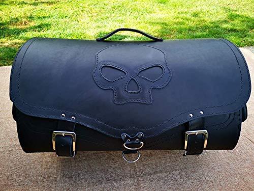 ORLETANOS Big Skull Packtasche kompatibel mit Sissybar Harley Davidson Gepäckkoffer Koffer Gepäckträger Chopper XL Groß schwarz Lederkoffer HD Orletanos