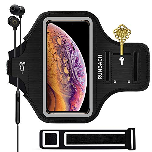 RUNBACH iPhone 11 Pro Max/iPhone Xs Max Armband, Sweatproof Running Exercise Bag with Fingerprint Touch and Card Slot for 6.5 Inch iPhone 11 Pro Max/iPhone Xs Max(Black)