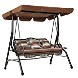 U-MAX 3-Seat Outdoor Patio Swing Chair, Large Converting Canopy Porch Swing Glider, Hammock Lounge Chair for Porch, Rattan Wicker Steel Frame Cushion & Pillow, Brown