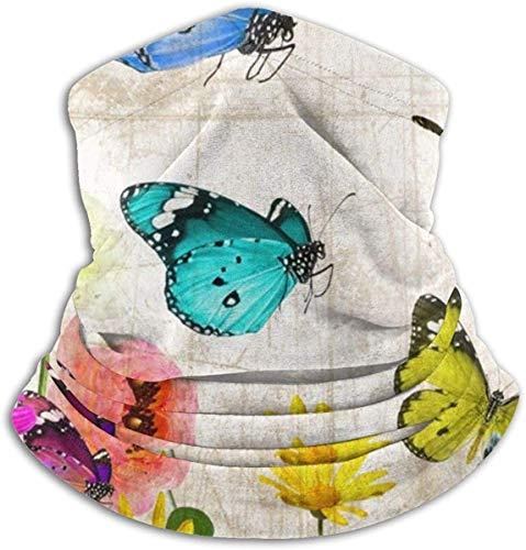 LiGHT-S Mikrofaser Nackenwärmer Altes Papier Blumen Schmetterling Nackenschutz Tube Ohrenwärmer Stirnband Schal Gesichtsmaske Sturmhaube Schwarz