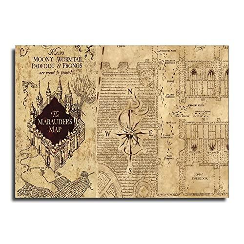 MPY-SEA Harry Potter Poster, Die Karte des Rumtreibers Inklusive, Harry Potter Poster, Quidditch at Hogwarts Quidditch Regeln, (Kein Rahmen,30X45CM=12X18inch)