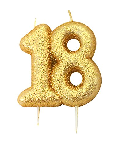 Anniversary House Gold Glitter Numeral Moulded Cake Candle - No 18 AHC203ANH_SML