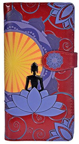 Shag Wear Women's Vegan Faux Leather Clutch Purse with Zipper Around Closure (Buddha Lotus, Red)