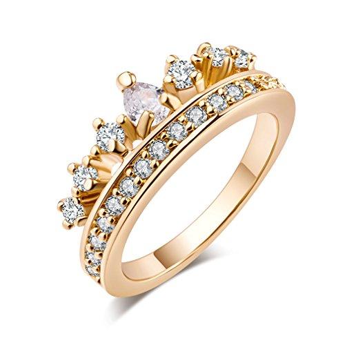 Yazilind 18k Gold überzogene Königin-Kronen-Form Zirkonia Anhänger Ring für Frauen und Mädchen (Größe 52)