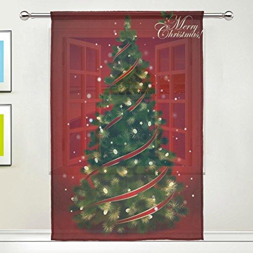 Use7 Vorhang mit Weihnachtsbaum, glitzernd, 139,7 x 213,4 cm, 1 Stück, moderne Fensterbehandlung, für Kinder, Zuhause, Wohnzimmer, Esszimmer, Spielzimmer, Dekoration