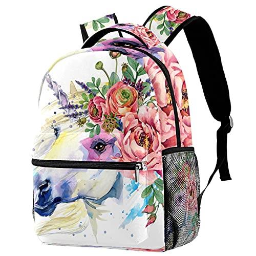 Mochila de viaje con diseño floral de unicornio y caballo de la universidad, bolsa de viaje de gran capacidad y correa ajustable