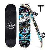 Beleev Skateboard for Kids Teens Adults, 31 inch Complete Standard Skateboards for Beginners Girls Boys, 7 Layer Maple Double Kick Deck Concave Cruiser Trick Skateboard (Blue)