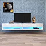 V-HOME TV Stand for 75/80inch TV, Universal TV Stand, Modern TV Cabinet with 12 Color LED,Wall Mounted Floating Stand, High Gloss, TV Table Entertainment Center Media Console for Living Room (White)