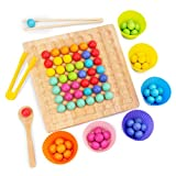 Wooden Board Bead Game bluberry, Rainbow Ball Matching Game