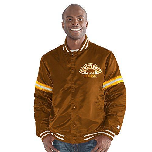 STARTER Adult Men NHL Legecy Retro Satin Jacket Boston Bruins, X-Large, Brown