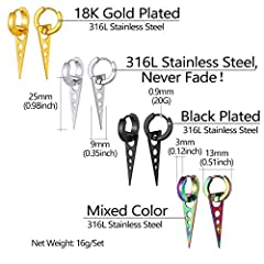 Mens Earrings 4 Pairs Flat Tube With Triangle Pendant Ear Drop Round Hoop Ear Rings Mixed Color/18K Gold/Black Plated Stainless Steel Steampunk Jewellery For Rapper Triangle Drop Earring (Gift Box) #5