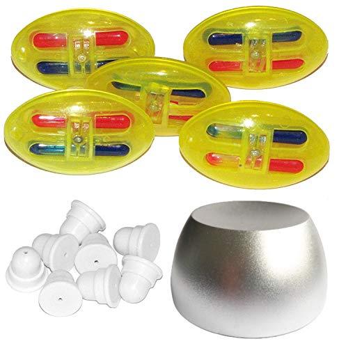 100 Farbsicherungsetiketten Farbsicherungen mit Verschluss,1 Magnetlöser im Set Sicherungsetiketten Warensicherung Artikelsicherrung