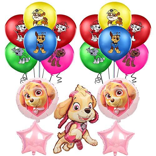 smileh Decoración Cumpleaños Patrulla Canina Globos Paw Patrol Cumpleaños Aluminio Globos para Niños Decoraciones de Fiesta 25PCS