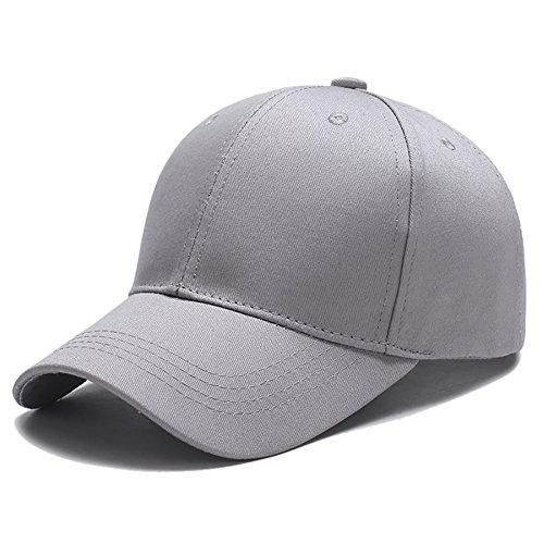 Yidarton Unisex Kappe Outdoor Baseball Cap Verstellbar Erwachsenen Mütze Casual Cool Mode Baseballmütze Hip Hop Flat Hüte (Grau)