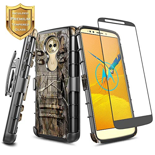 NageBee Motorola Moto E5 Case (XT1920DL) w/[Tempered Glass Screen Protector], Belt Clip Holster Heavy Duty Shockproof Kickstand Case for (Tracfone, Simple Mobile, Straight Talk, Total Wireless) -Camo