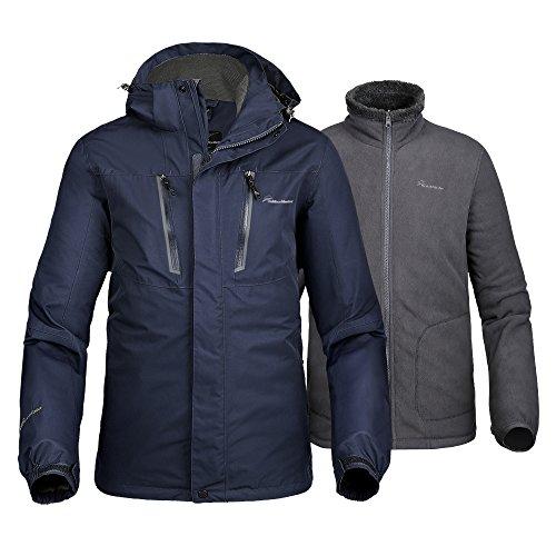 OutdoorMaster Men's 3-in-1 Ski Jacket - Winter Jacket Set with Fleece Liner Jacket & Hooded Waterproof Shell - for Men (Deep Blue,L)